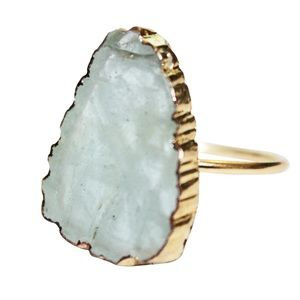 Aquamarine Gem Gold Sterling Silver Statement Ring